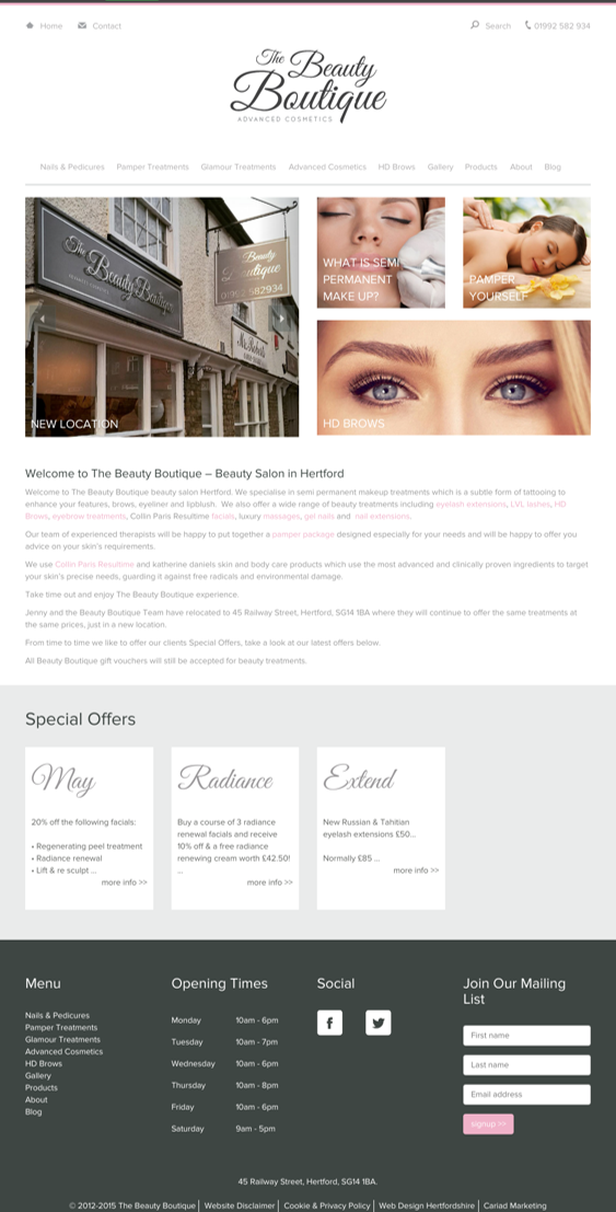 The Beauty Boutique website