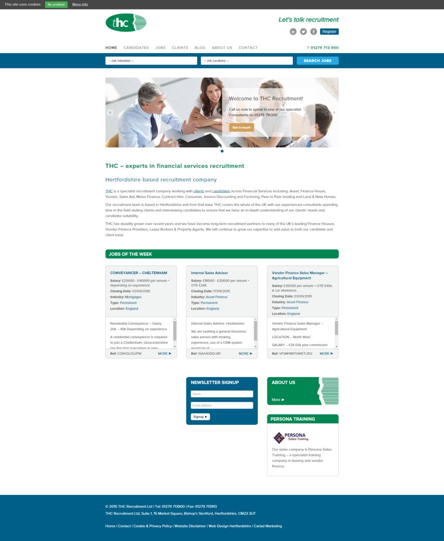 THC Recruitment website