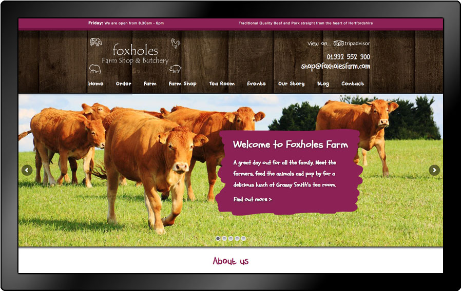 Foxholes Farm reponsive website