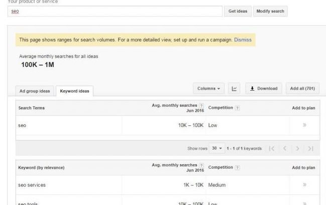 google keyword planner developments