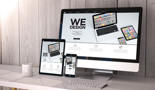 mock up of responsive website on different devices