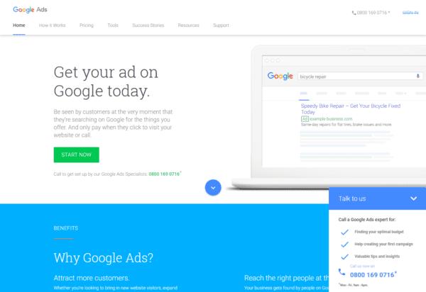 google ads homepage 2019