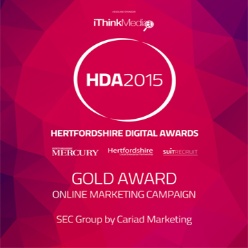 Hertfordshire Digital Awards 2015 – Gold Award for Online Marketing Campaign