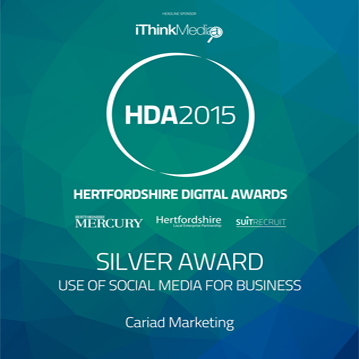 Hertfordshire Digital Awards 2015 – Silver Award for Social Media for Business