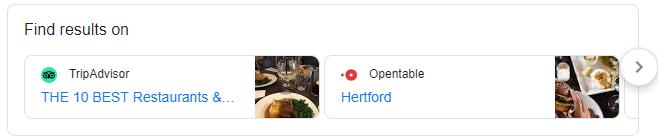 find results on google snippet - restaurants