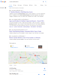 google search results snapshot - roofers hertfordshire